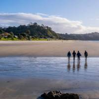 A group of walkers crossing the tidal estuary on the Te Ara Hura | Terra and Tide