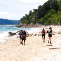 Enjoying a beach walk at Goat Bay, one of the first sections of the Abel Tasman Track   Natalie Tambolash