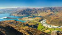 Panorama of lake Wanaka, Glendhu Bay and Matukituki valley from Buchanan peak, Otago |  <i>Colin Monteath</i>