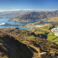 Panorama of lake Wanaka, Glendhu Bay and Matukituki valley from Buchanan peak, Otago   Colin Monteath