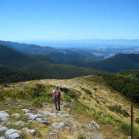 Hiking along the ridge line in the Kahurangi National Park